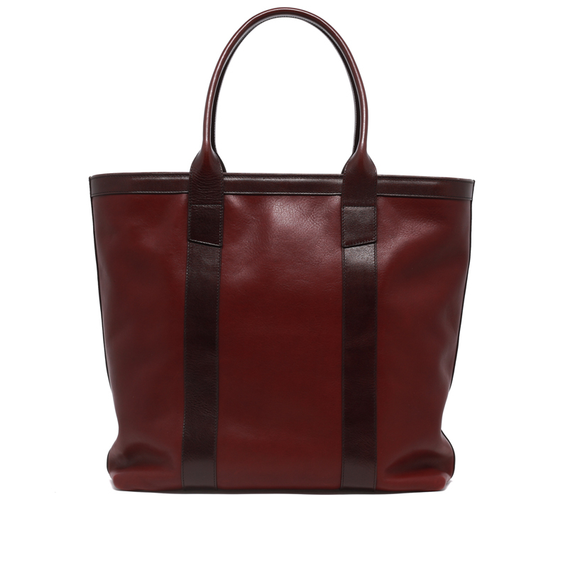 Tall Tote - Oxblood/Dark Brown - Zip-Top Closure - Tumbled Leather