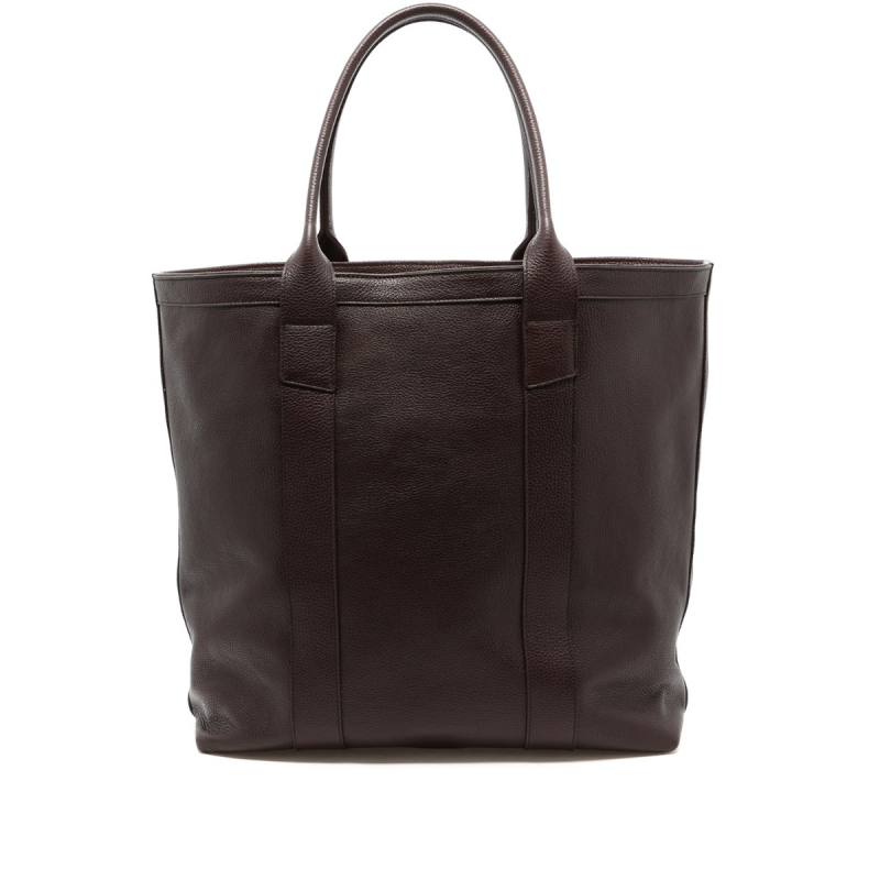 Tall Tote - Chocolate - Pebbled Leather  in
