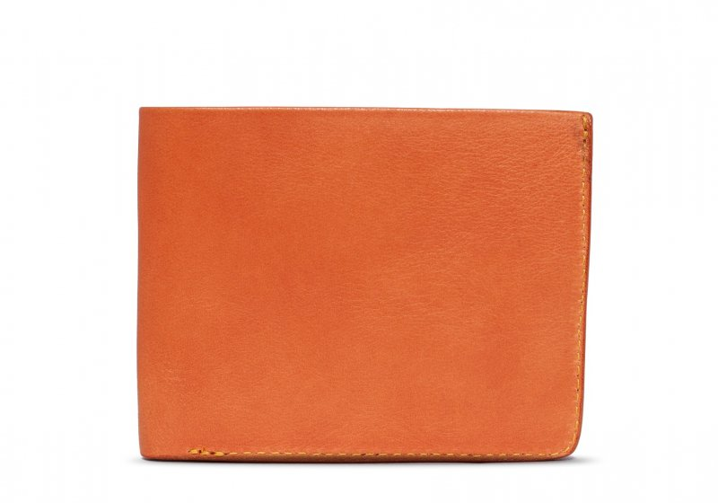 Bifold Wallet Slanted Pockets-Tan in Smooth Tumbled Leather