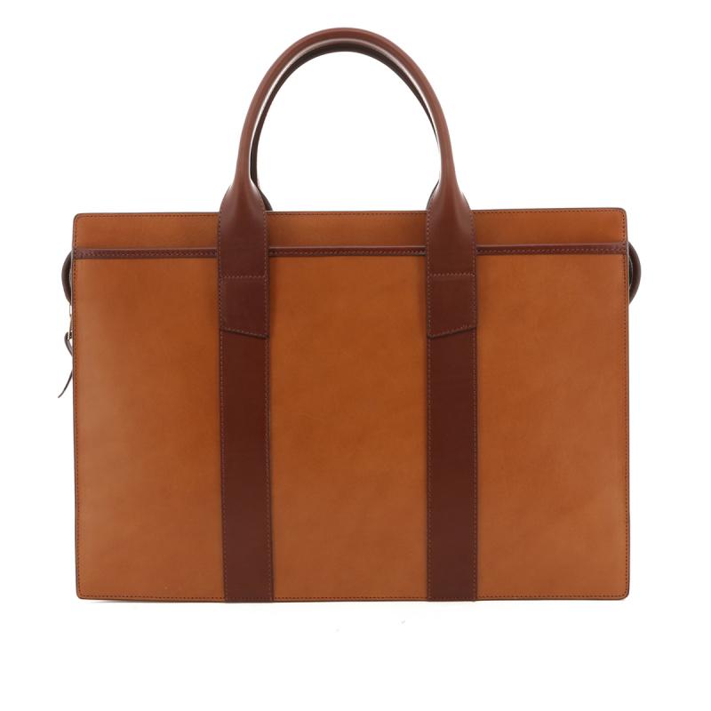 Single Zip-Top - Tan / Chestnut - Belting Leather in