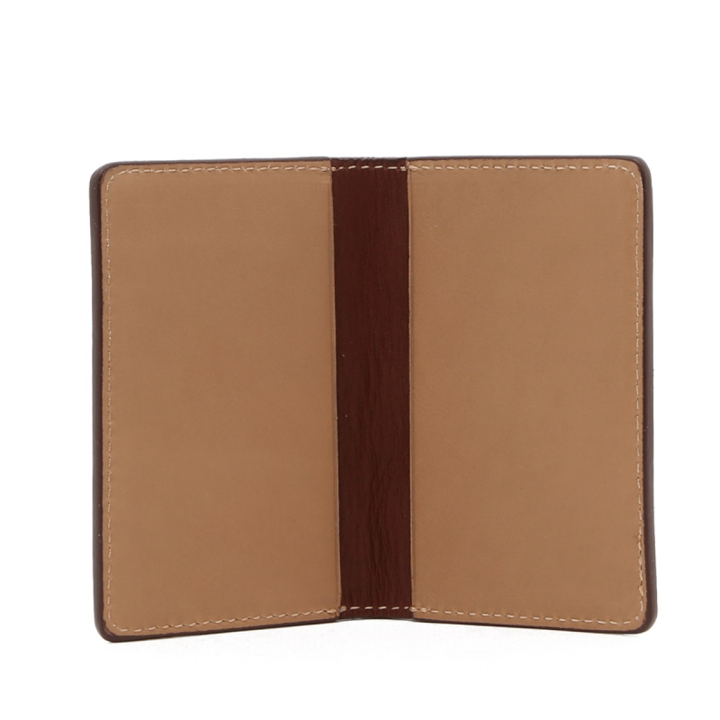 Folding Card Case - Taupe / Chestnut - Tumbled Leather  in