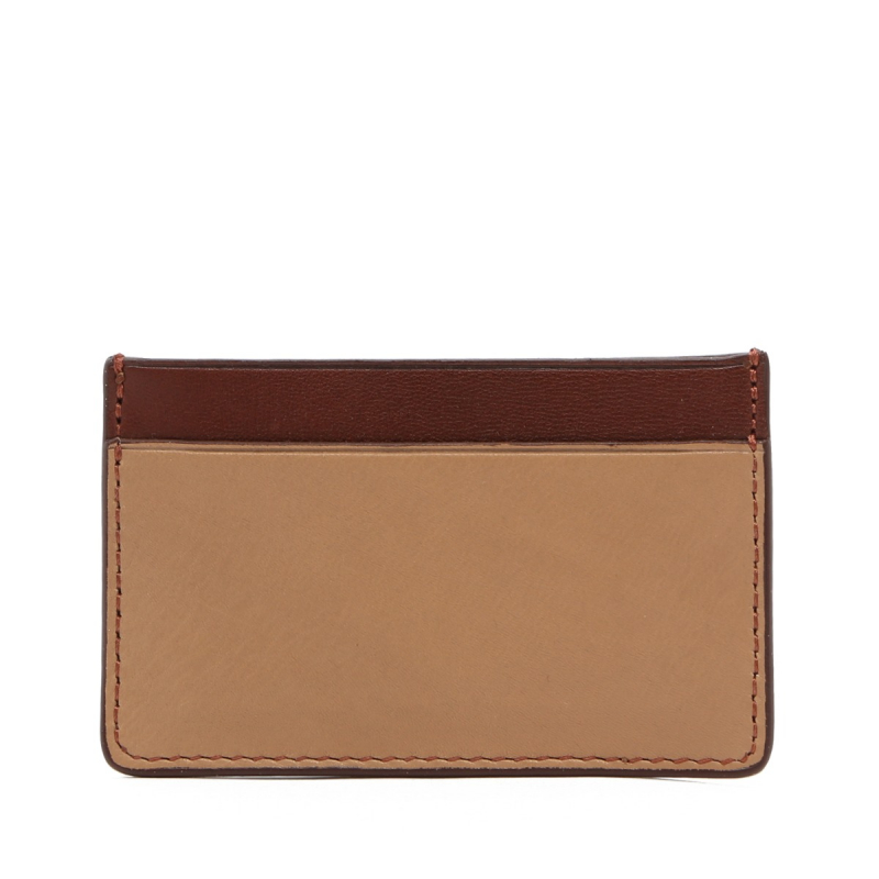 Mini Card Wallet - Taupe / Chestnut - Tumbled Leather  in