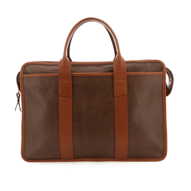 Bound Edge Zip-Top Briefcase - Toffee / Cognac Trim - Tumbled Leather in