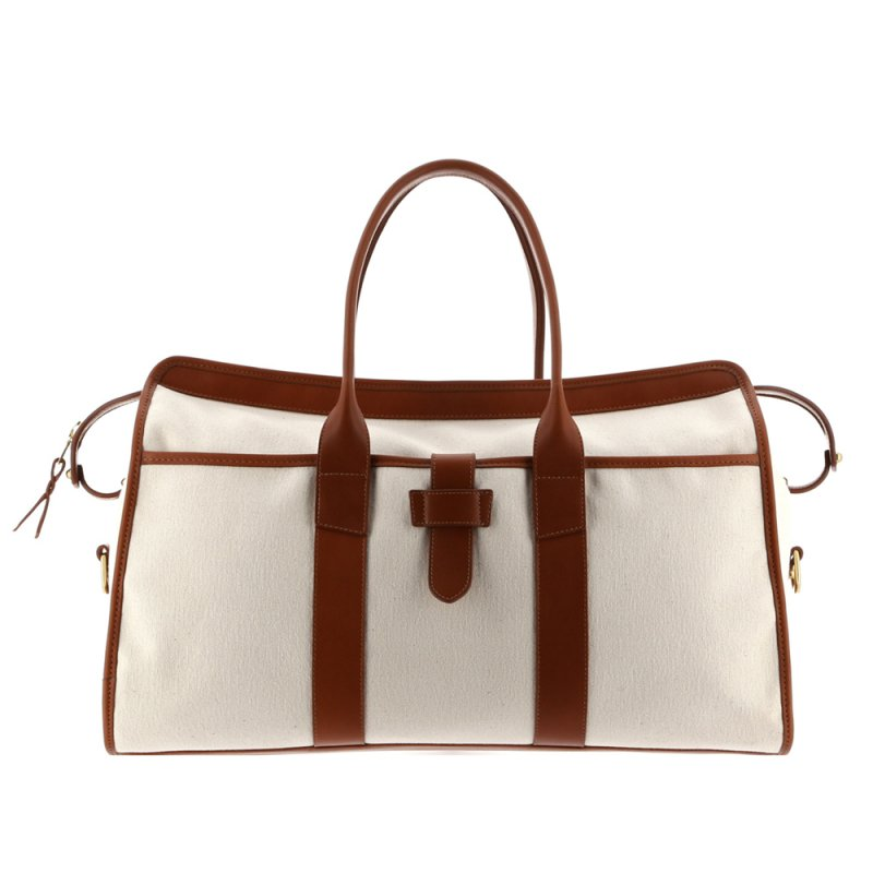 Troy Duffle - Ivory/Cognac - Heavy Weight Canvas in