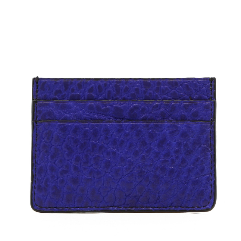 Double Card Wallet - Vibrant Blue - Bison - Black Edges in