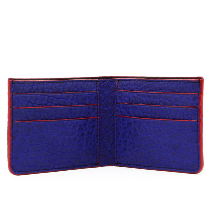 Bifold Wallet - Vibrant Blue / Red Edges- Bison Leather  in