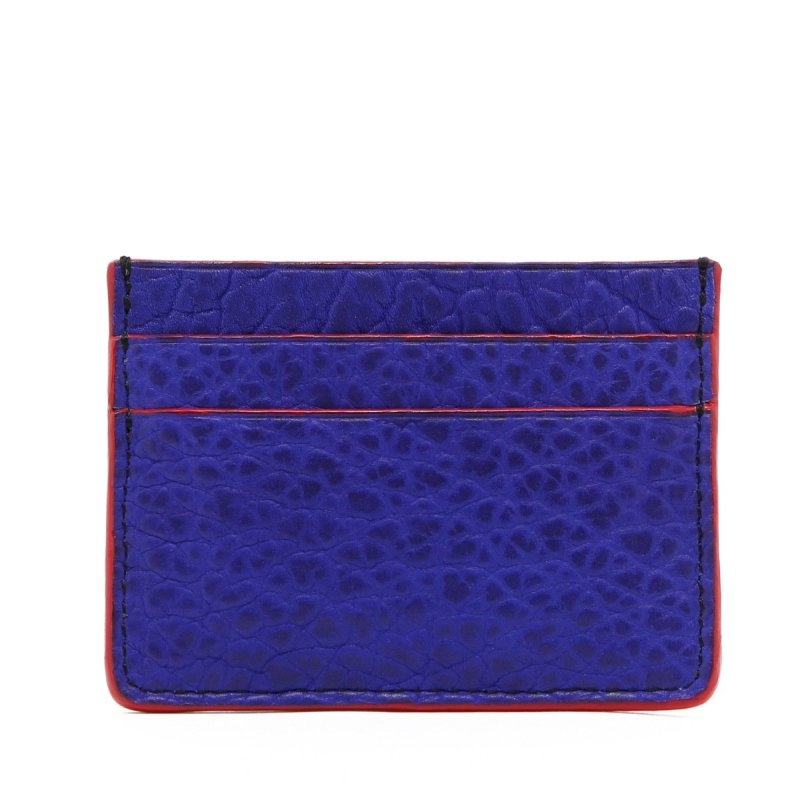 Double Card Wallet - Vibrant Blue - Bison - Red Edges in