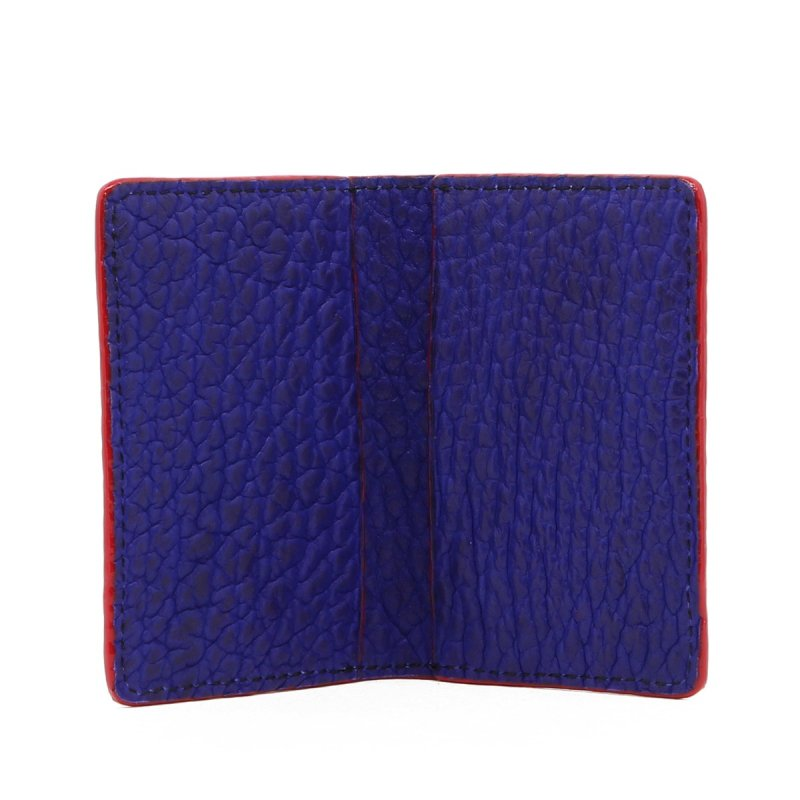 Folding Card Case - Vibrant Blue / Red Edges - Bison in