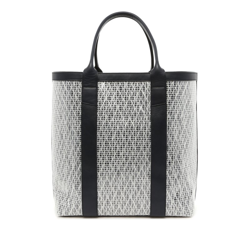 Tall Tote - White/Navy Trim - Navy Interior - Weaved Sail Cloth in