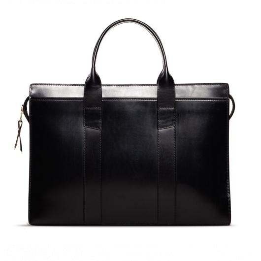 Zip-Top Briefcase Black Bridle in