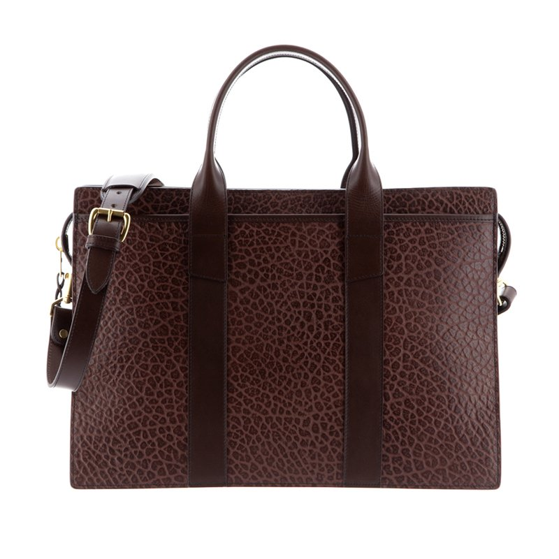 Zip-Top Briefcase in Shrunken Grain Leather