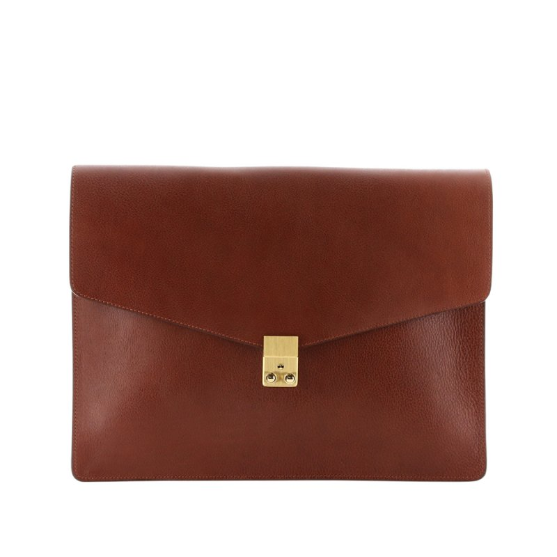 "15"" Lock Portfolio - Chestnut - Pebbled Tumbled Leather"