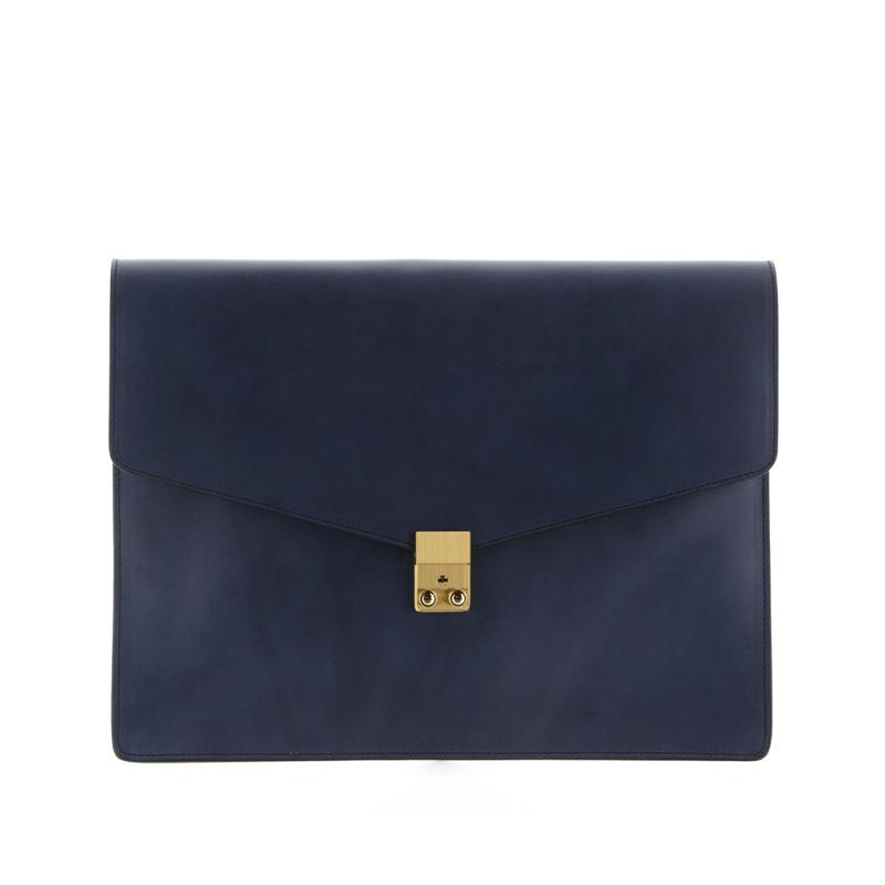 """15"""" Lock Portfolio - Washed Blue - Harness Belting Leather"""