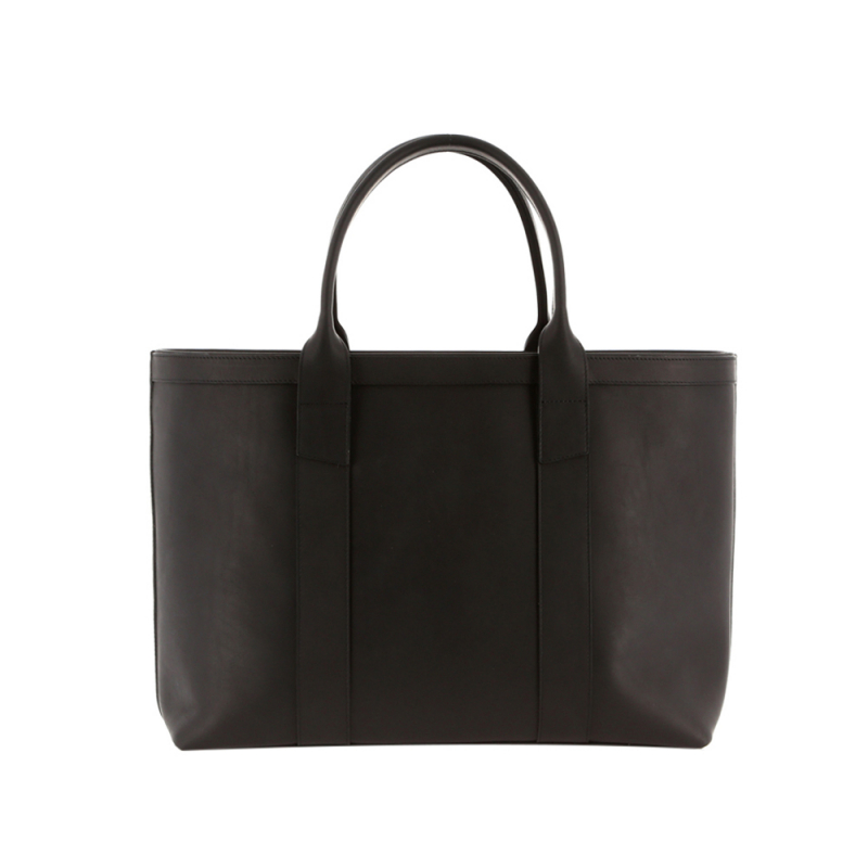 Large Working Tote - Matte Black/Grey Interior - Smooth Leather