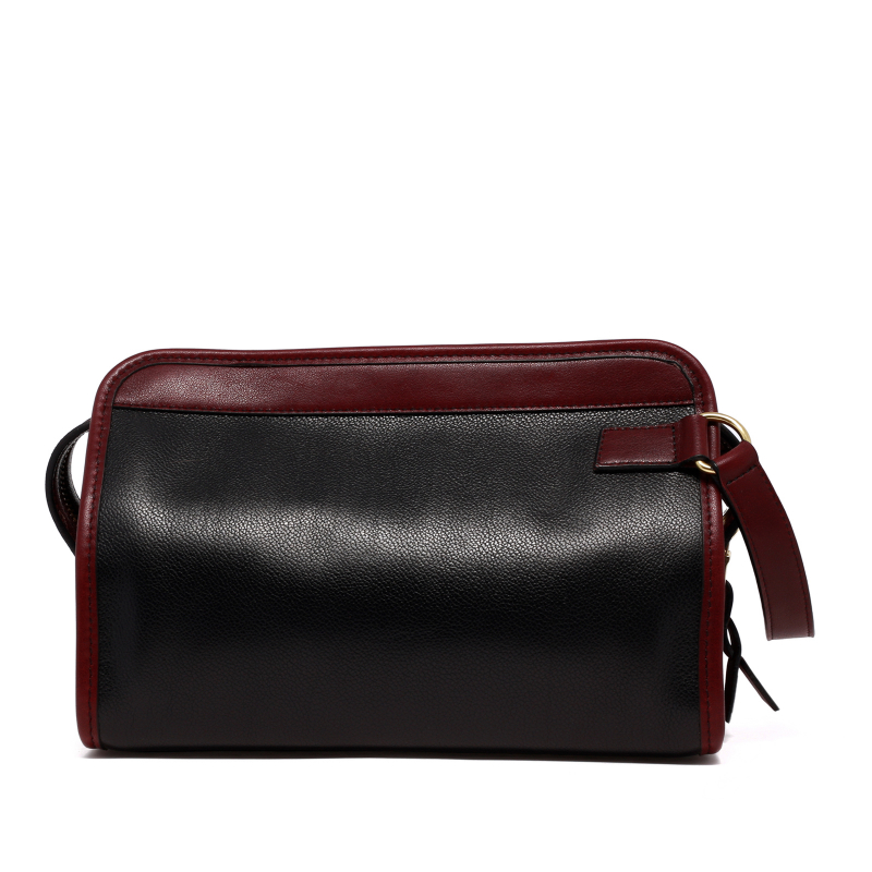 Large Travel Kit - Black/Oxblood - Tumbled Grain Leather in