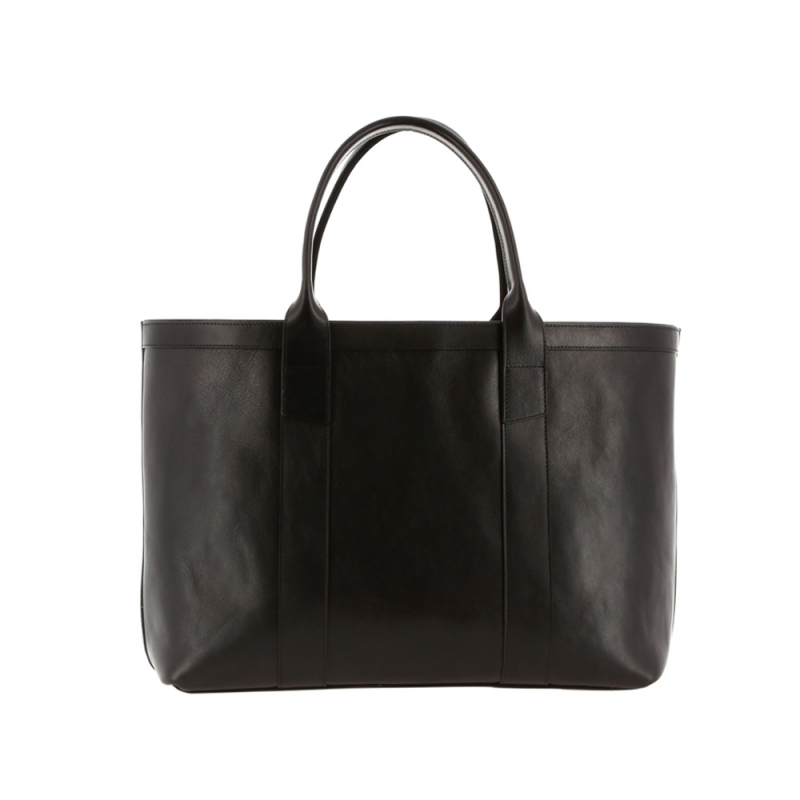 Large Working Tote - Black/Regimental Interior - Smooth Leather