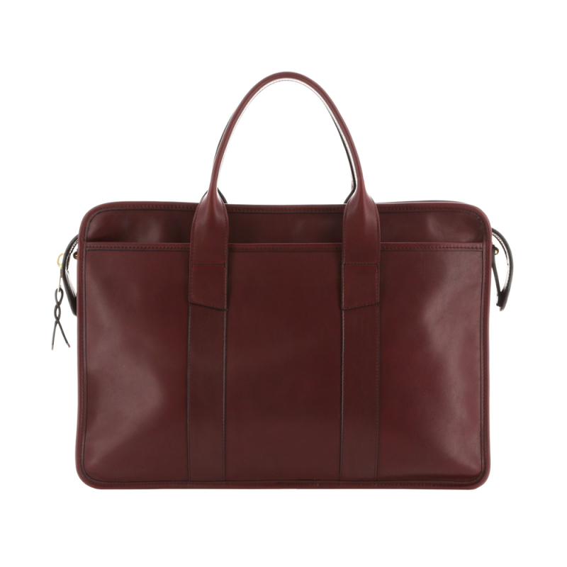 Bound Edge Zip-Top Briefcase - Oxblood - Smooth Tumbled Leather