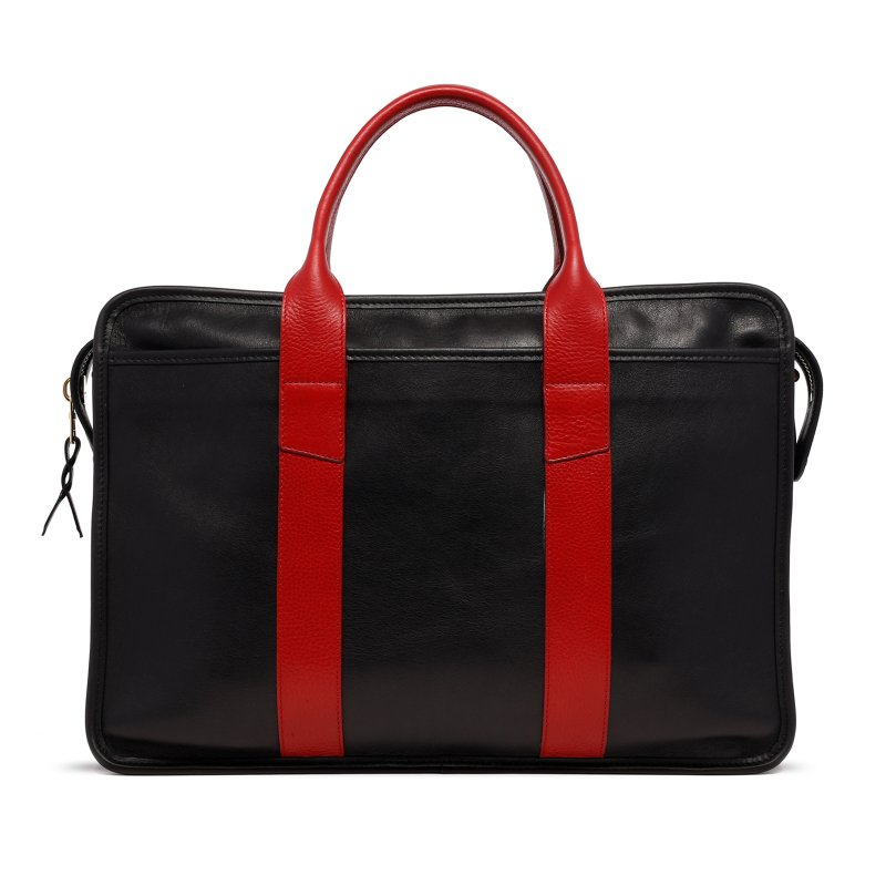 Bound Edge Zip-Top - Black/Candy Red - Natural Tumbled Leather