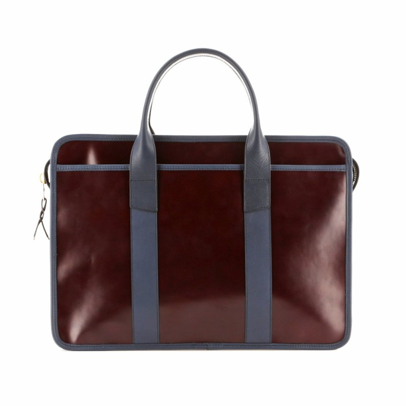 Bound Edge Zip-Top - Burgundy/Navy - Glossy Leather