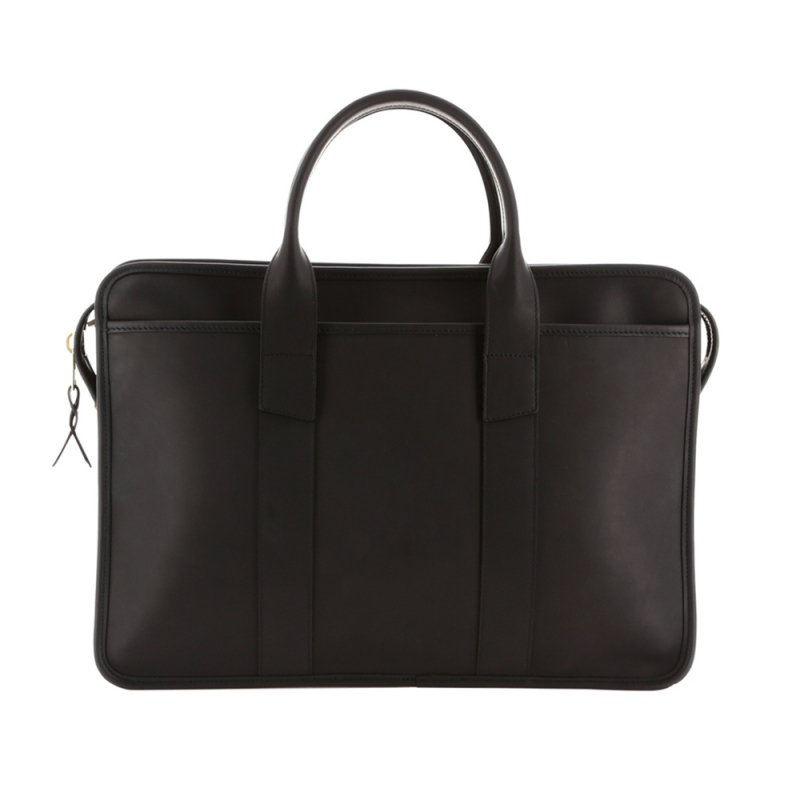 Bound Edge Zip-Top Briefcase - Matte Black - Smooth Tumbled Leather