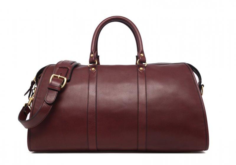 Hampton Travel Duffle -Burgundy in Smooth Tumbled Leather