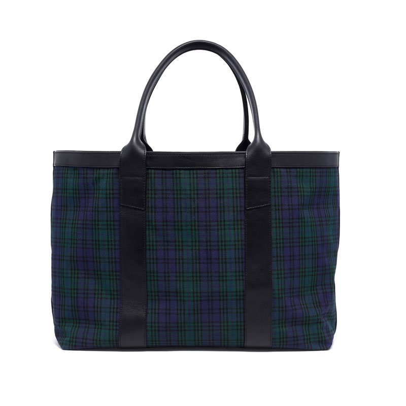 Large Working Tote - Black Watch Tartan/Black - Canvas