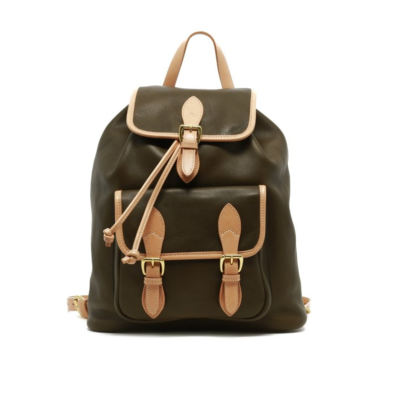 Classic Backpack - Olive/Natural in Smooth Tumbled Leather