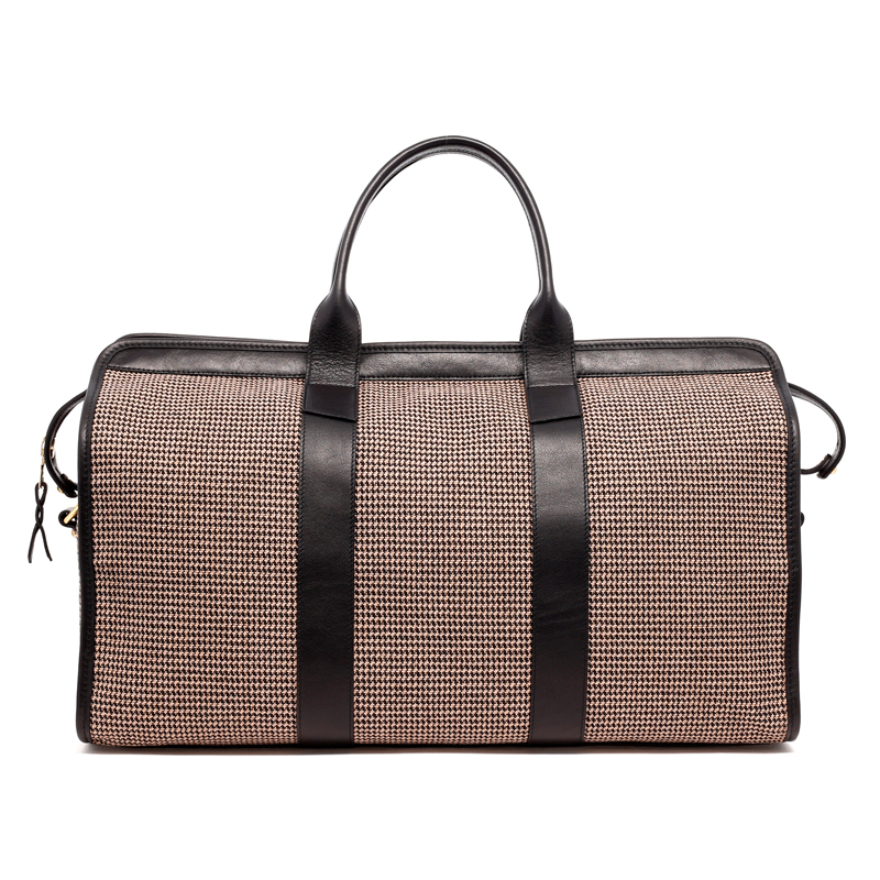 Signature Travel Duffle - Khaki/Black - Houndstooth Jacquard