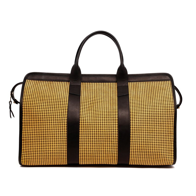 Signature Travel Duffle - Yellow/Black - Houndstooth Microsuede in