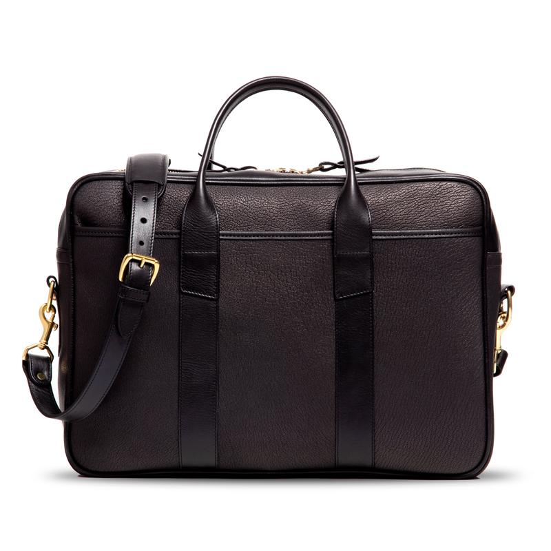 Chèvre Commuter Briefcase-Black in Goat Skin