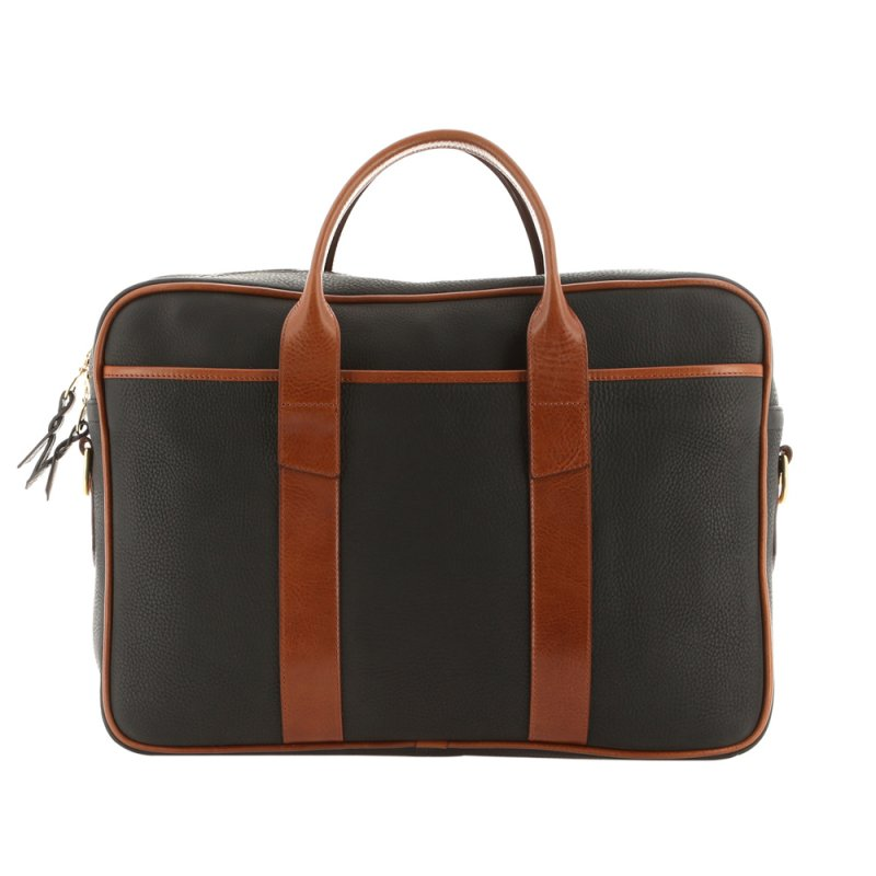 Commuter Briefcase - Black/Caramel - Pebbled Leather