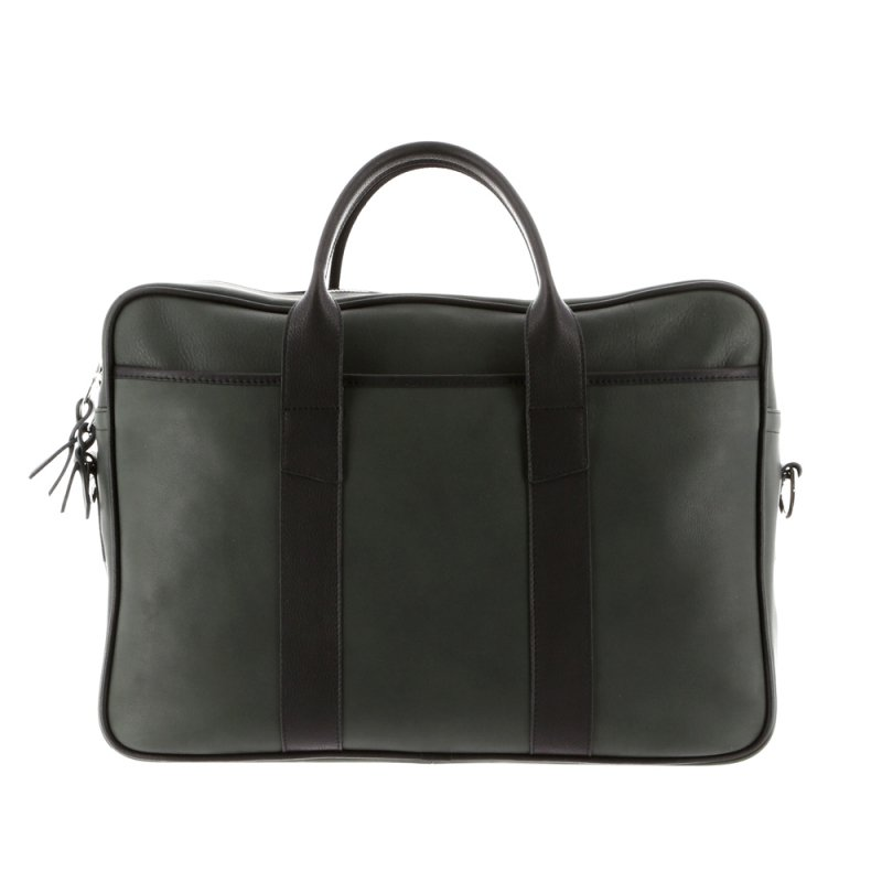 Commuter Briefcase - Green/Black - Smooth Tumbled Leather - Silver