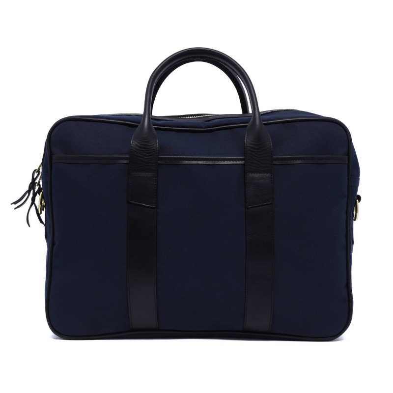 Commuter Briefcase - Navy/Black - Sunbrella Fabric in
