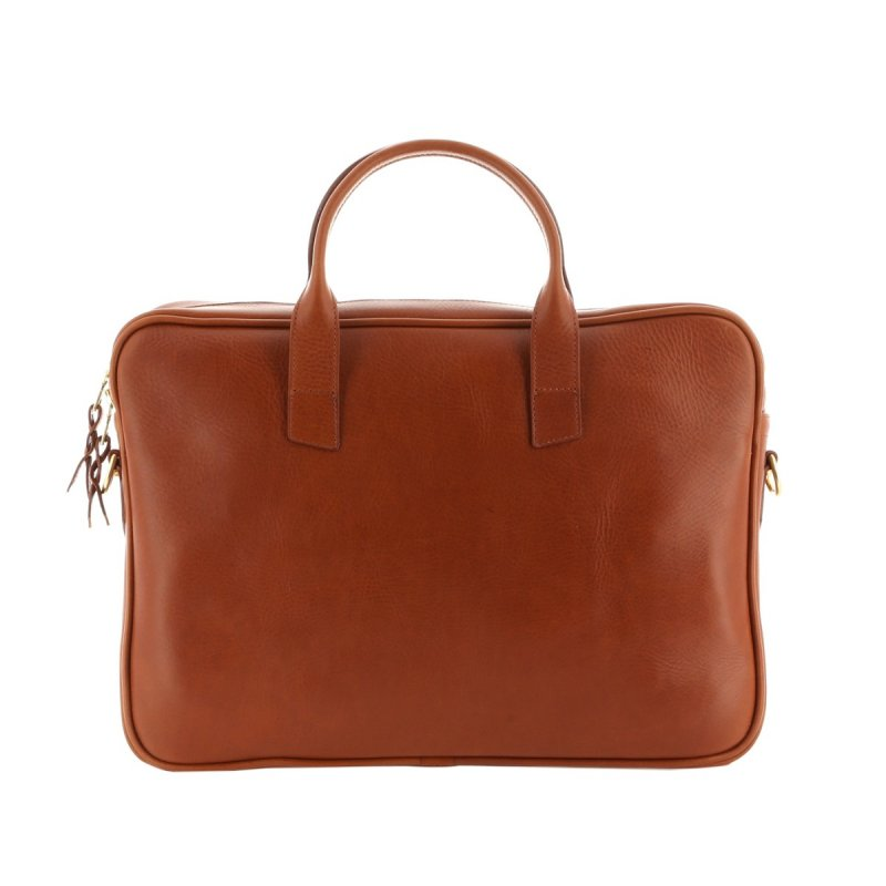Computer Briefcase - Cognac - Pull Up Leather