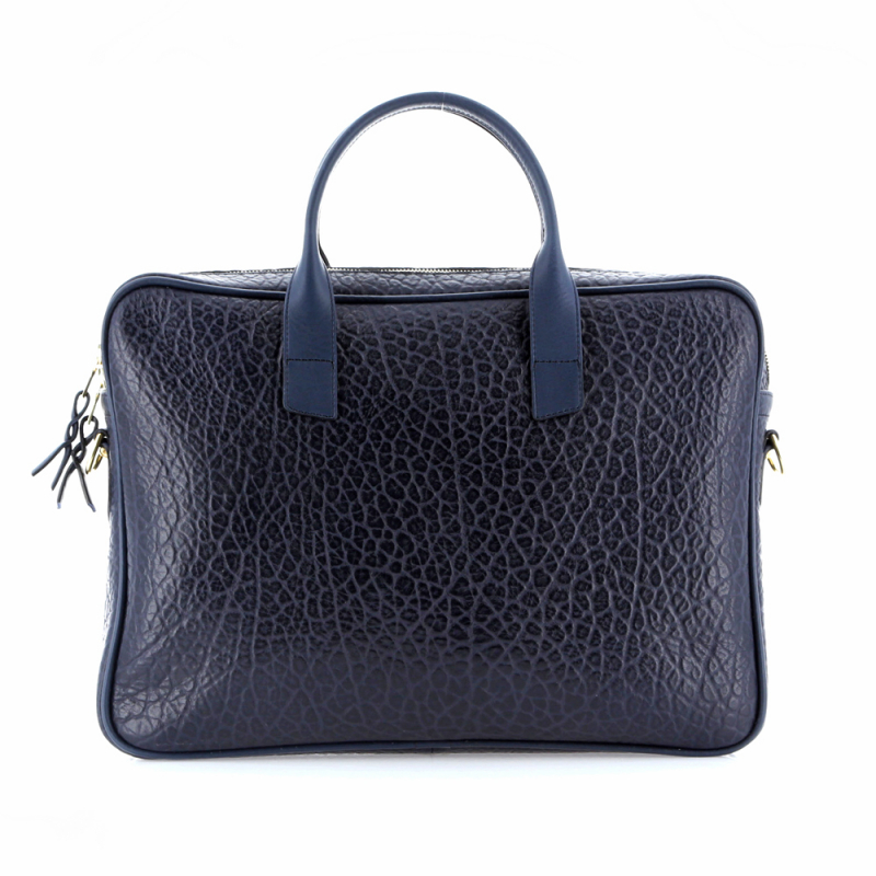 Computer Briefcase - Navy - Shrunken Grain Leather