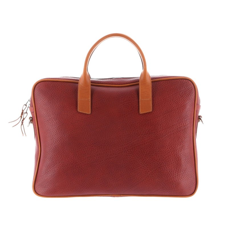 Computer Briefcase - Burgundy/Cognac - Pebbled Grain Leather