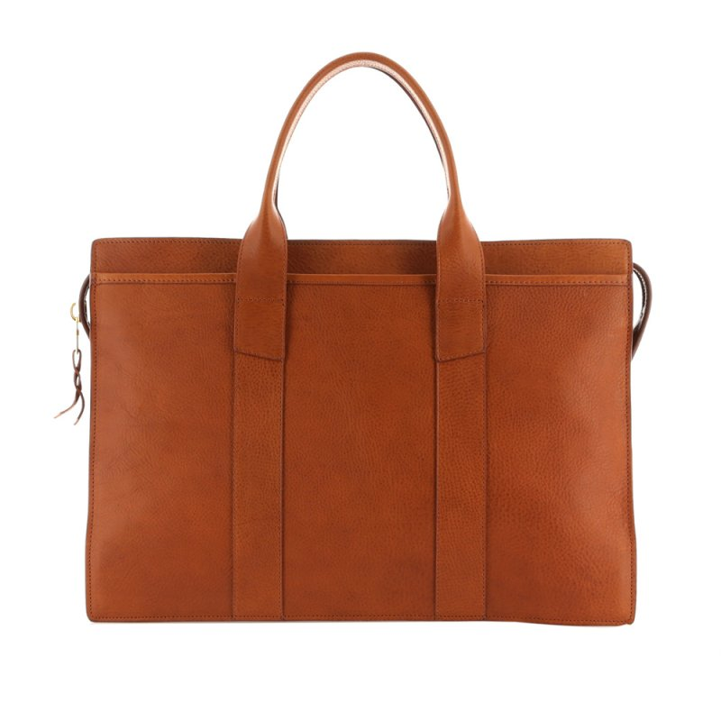 Double Zip-Top Briefcase - Cognac - Pebbled Grain Leather