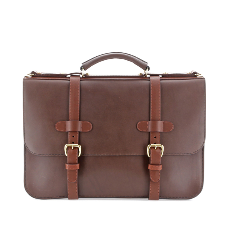English Briefcase - Matte Chocolate/Chestnut - Belting Leather in