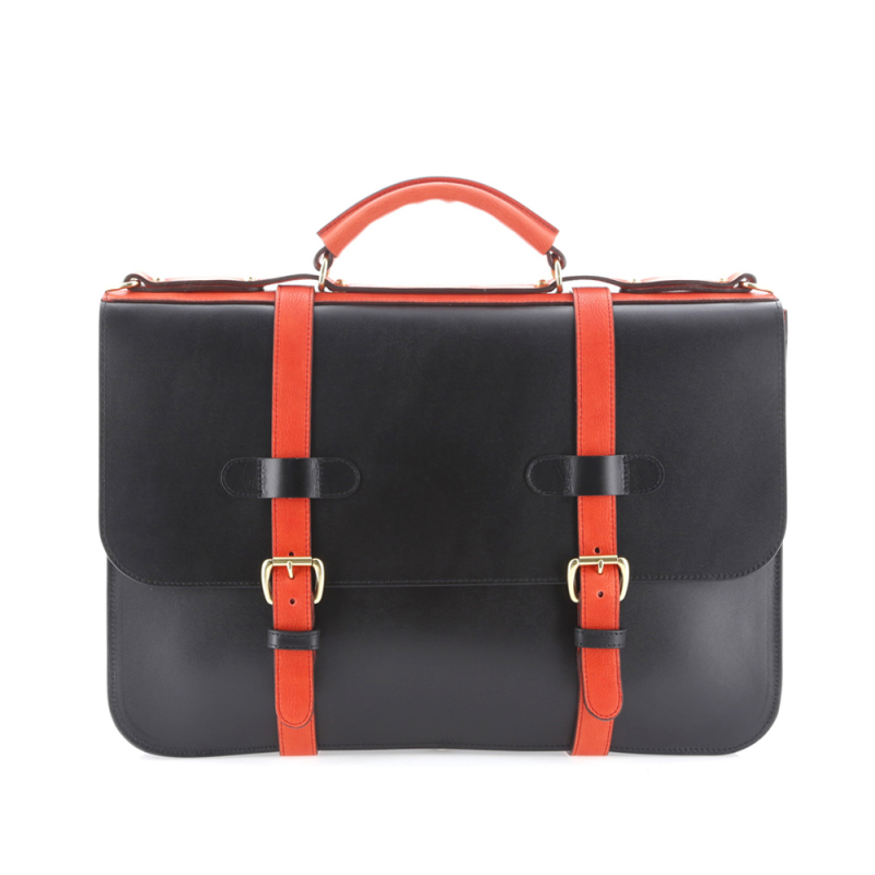 English Briefcase - Black/Red-Orange - Harness Belting Leather in