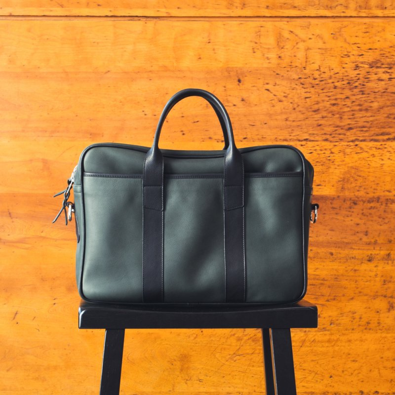 Commuter Briefcase - Green/Black - Smooth Tumbled Leather - Silver in