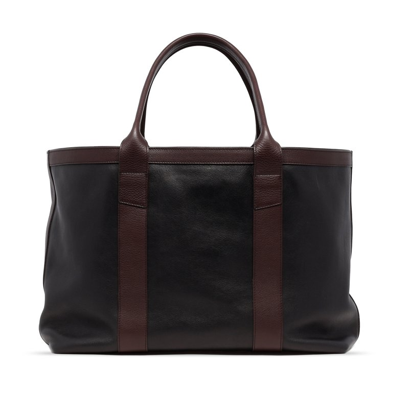 Large Working Tote - Black/Chocolate - Tumbled Leather