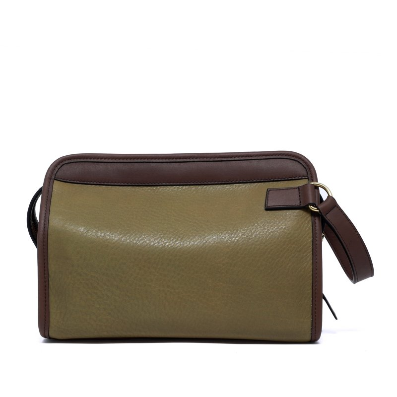 Large Travel Kit - Moss/Matte Chocolate - Supple Tumbled Leather