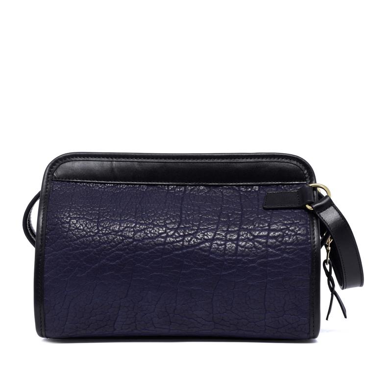 Large Travel Kit - Navy/Black - Shrunken Bison Leather