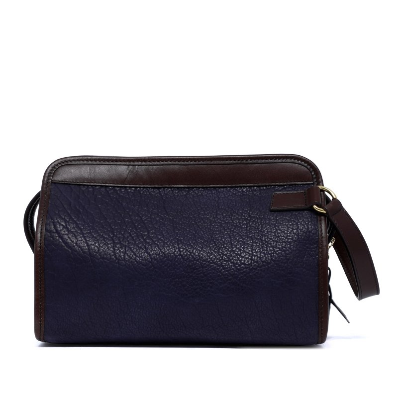 Large Travel Kit - Navy/Chocolate - Shrunken Bison Leather