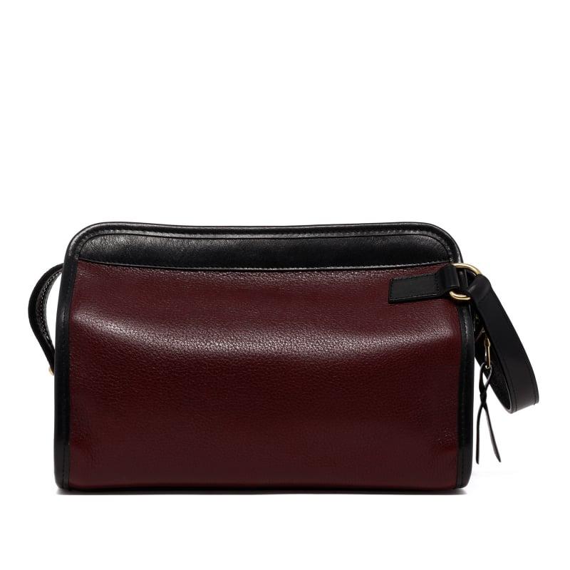 Large Travel Kit - Dark Plum/Black - Tumbled Leather in