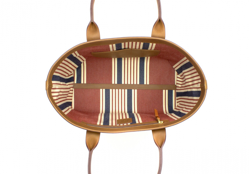 Large Working Tote - Light Tabacoo/Striped Interior - Smooth Tumbled Leather in