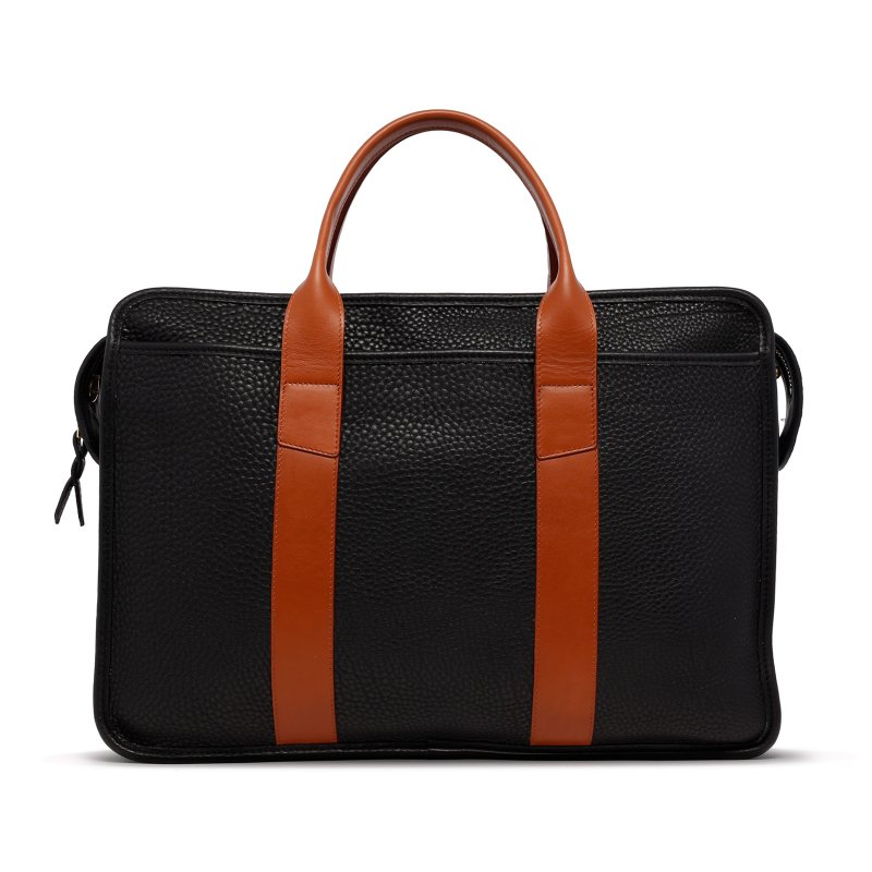 Bound Edge Zip-Top - Black/Cognac - Pebble Grain Leather