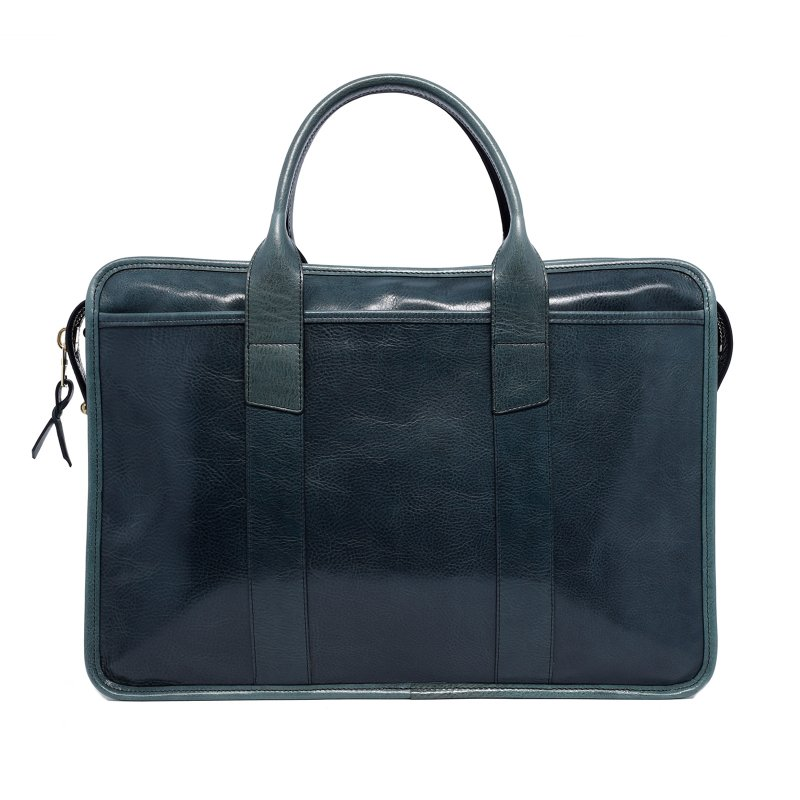 Bound Edge Zip-Top - Pine Green - Glossy Tumbled Leather