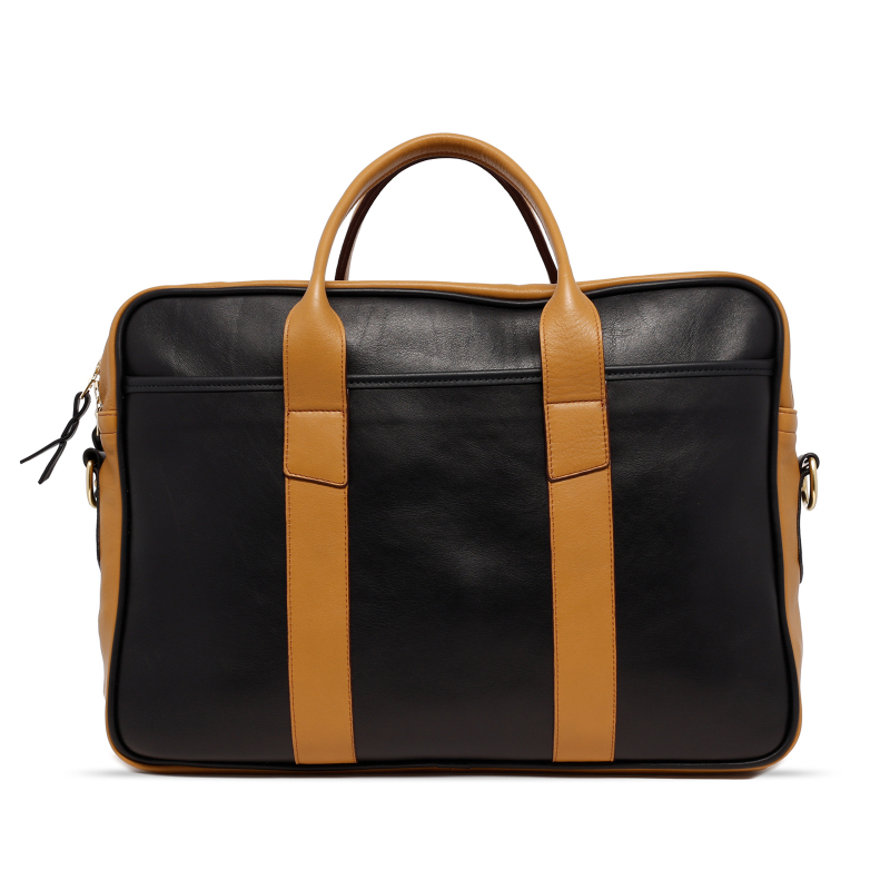 Commuter Briefcase - Black/Ochre - Tumbled Leather  in