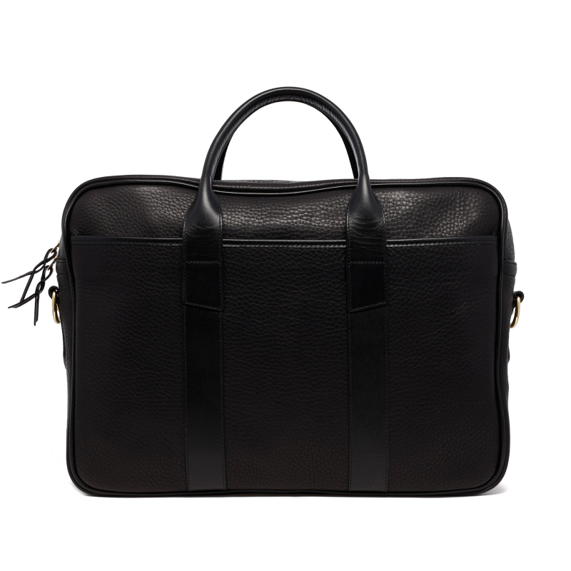 Commuter Briefcase - Black - Soft Pebbled Leather